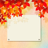 Autumn background with plastered wall, billboard. Autumn background with rough surface of plastered wall texture with billboard. Blank street advertising board royalty free illustration