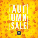 Autumn background. Poster for advertising autumn sale. Invitation card. White paper banner with text. Red orange maple leaves. Abs. Tract lights bokeh. Vector royalty free illustration
