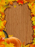 Autumn background with Pumpkin on wooden board. Royalty Free Stock Photo