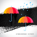 Autumn background. Rainbow color umbrellas and Stock Photography