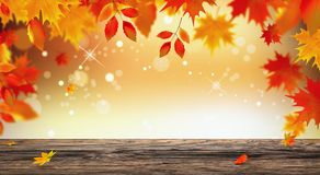 Autumn background with red falling leaves on wooden plank 3d render 3d illustration Stock Photo
