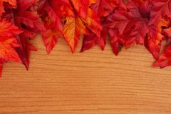 Autumn background with red and orange fall leaves on wood stock photo