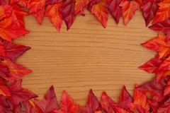 Autumn background with red and orange fall leaves on wood stock photography