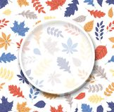 Autumn background with round frame and color leaves. vector illustration