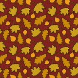 Autumn background. Seamless pattern with yellow leaves on a red background. Autumn background. Seamless pattern with autumn leaves on a red background. There are Royalty Free Illustration