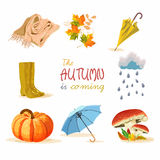 Autumn background. Set design element of fall in cartoon style. Greeting card with rubber boots, mushrooms, rain, cloud, scarf, kn Royalty Free Stock Photography