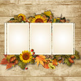 Autumn background with stamp-frame and leaves Royalty Free Stock Image