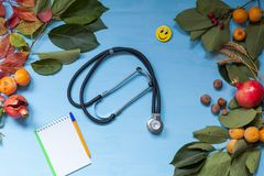 Autumn background stethoscope yellow leaves hospital z stock photography