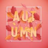 Autumn Background Template avec les belles feuilles et gouttes de pluie, illustration d'automne avec l'art de papier pour la bann Photo libre de droits