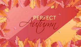 Autumn Background Template avec les belles feuilles et gouttes de pluie, illustration d'automne avec l'art de papier pour la bann illustration de vecteur