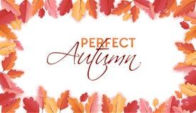Autumn Background Template met Mooie Bladeren en Regendruppels, Dalingsillustratie met Document Kunst voor Webbanner, Kaart stock illustratie