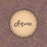 Autumn background with text. Maple leaves. Autumn badges logos and labels. Vintage vector Stock Images