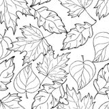 Autumn Background tiré par la main Autumn Leaves Mer noire et blanche illustration libre de droits