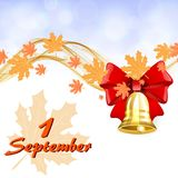 Autumn background with maple leaves. Autumn background to the first of September with maple leaves and a golden bell Royalty Free Stock Image