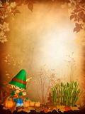 Autumn background with a toon boy Royalty Free Stock Photo