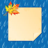 Autumn background. Transparent drops of rain on a blue background.background.Background with rain drops and maple leaves and frame for your text Stock Illustration