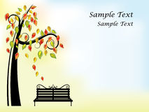 Autumn background with tree and bench Stock Images