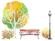 Autumn background with tree and bench Royalty Free Stock Photos