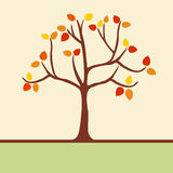 Autumn background with tree and leaves Royalty Free Stock Photography