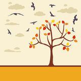 Autumn background with tree leaves and birds Stock Image