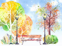 Autumn background with trees,lanterns and bench Royalty Free Stock Photos