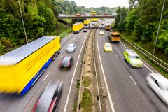 Autumn Background of UK Motorway Road Yellow concept royalty free stock photo