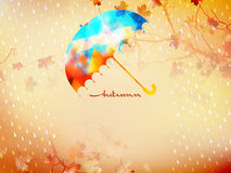 Autumn background with umbrella and leaves. EPS 10 Stock Image