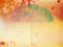Autumn background with umbrella and leaves. EPS 10 Royalty Free Stock Image