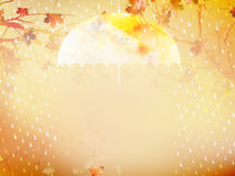 Autumn background with umbrella and leaves. EPS 10 Stock Photos
