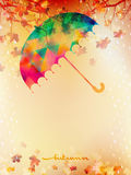 Autumn background with umbrella and leaves. EPS 10 Royalty Free Stock Photos