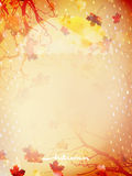 Autumn background with umbrella and leaves. EPS 10 Stock Photo