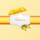 Autumn background with umbrella and rowen Royalty Free Stock Image