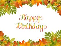 Autumn background vector with Happy Birthday text. style of foliage. Autumn background vector with Happy Birthday text. style of foliage stock illustration