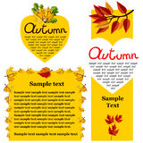 Autumn background vector illustration. Banners set of autumn leaves vector illustration. Background with hand drawn autumn leaves. Design elements. Autumn leaves Royalty Free Stock Photography