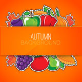 Autumn background with vegetables and fruits. Royalty Free Stock Image