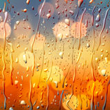 Autumn background, view through wet glass. Vector Eps10 illustration Stock Images