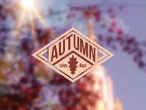 Autumn background with vintage label and sun beam. Royalty Free Stock Image