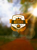 Autumn background with vintage label and sun beam. Royalty Free Stock Photo