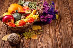Autumn background on wooden boards. Space for your text. Selective focus. Royalty Free Stock Photo