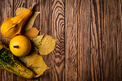Autumn background on wooden boards. Top view. Space for text. Stock Image