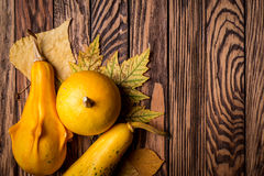 Autumn background on wooden boards. Top view. Space for text. Royalty Free Stock Images