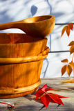 Autumn background. Wooden ware. Country house. Stock Photo