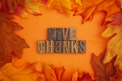 Autumn Background with the Words Saying Give Thanks in Block Let. An Autumn Background with the Words Saying Give Thanks in Block Letters royalty free stock images
