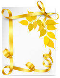 Autumn background with yellow leaves and gold ribb Royalty Free Stock Image