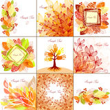 Autumn backgrounds. Set of 9 autumn backgrounds Stock Image