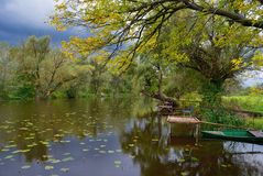 Autumn backwater reflection Stock Photo