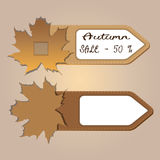 Autumn badge labels with leaves abstract business sale element Royalty Free Stock Image