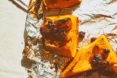 Autumn baked sweet pumpkin from above royalty free stock photos