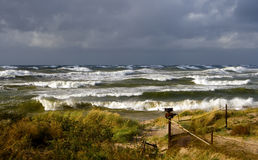 Autumn on a Baltic Sea. Weather on a Baltic sea in autumn - waves, wind and storm Stock Image