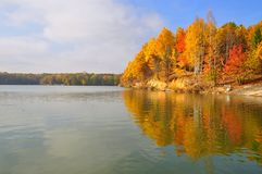 Autumn on the bank of lake Royalty Free Stock Photo